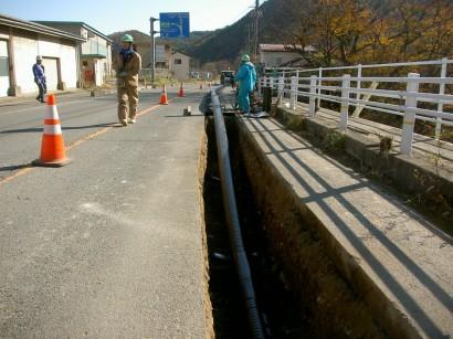 福島県温泉埋設配管工事1